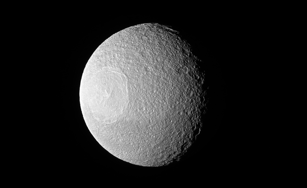 See Pic: Saturn's Icy Moon Tethys That Looks Like a Space Eyeball or a Death Star?