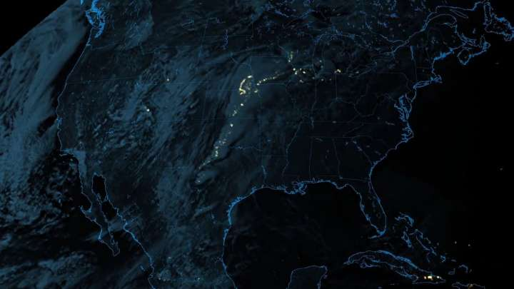 GOES-17 satellite detects lightning strikes in the midwestern United States